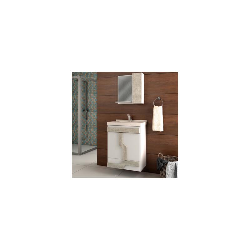 Conjunto Balcão Para Banheiro+Espelheira Navona 60 Belizze