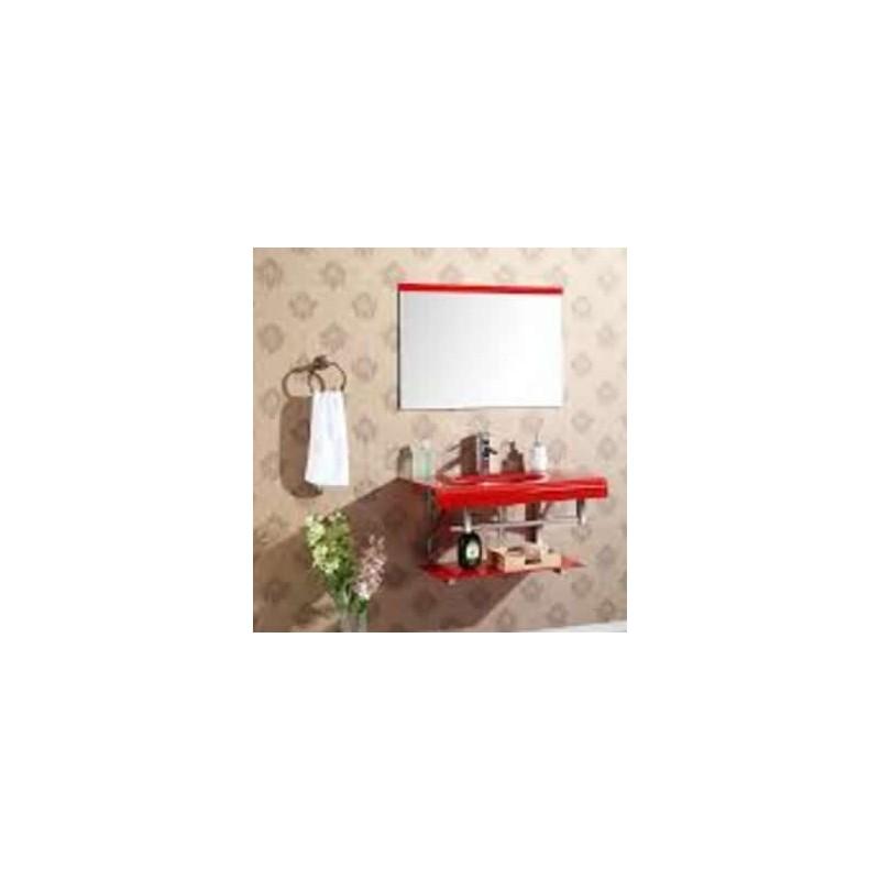 Gabinete de Vidro Capri c/ cuba, espelho, prateleira e porta toalhas