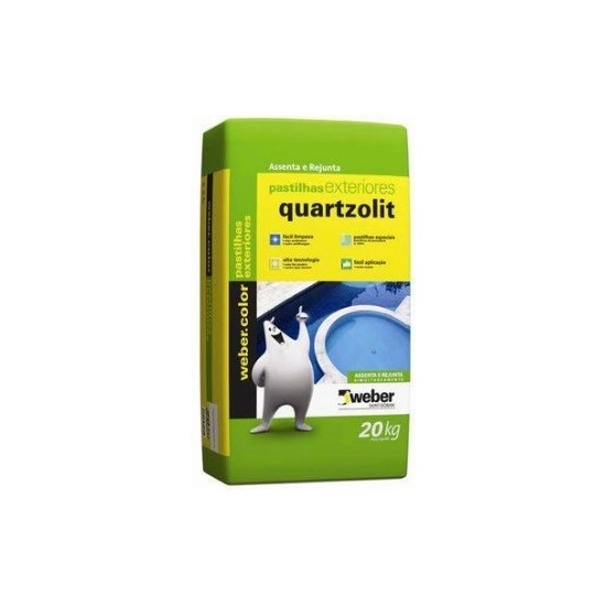 Argamassa Pastilha Vidro Ext 20Kg Branca Quartzolit