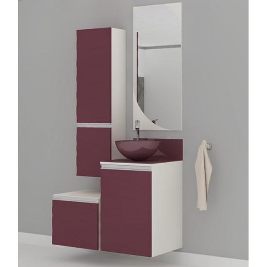 Gabinete Banheiro Marsala c/cuba e Espelheira