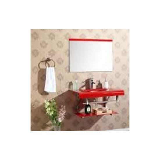 Gabinete de Vidro 226 60cm c/ cuba, espelho, prateleira e porta toalhas
